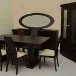 Τραπεζαρία Δρυς wenge (τραπέζι, 6 καρέκλες,μπουφές,καθρέπτης,κρυσταλιέρα) κωδ.ΤΡ 603
